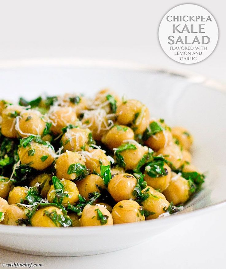 Chickpea Kale Salad   Flavored with Lemon and Garlic // wishfulchef.com
