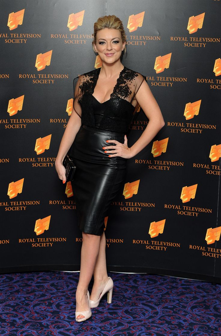 Sheridan Smith looks hot in a black leather skirt and leather top