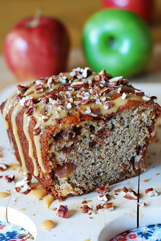 Banana apple bread with caramel sauce and chopped pecans. Greek yogurt and very ripe bananas make this low-fat bread very moist. | JuliasAlbum.com |