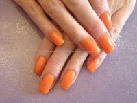 Acrylic+nails+with+orange+gel+polish | Eye Candy Beautiful ...
