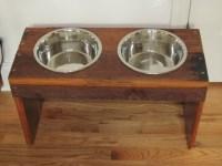Reclaimed Wood Dog Bowl holder | craft ideas | Pinterest