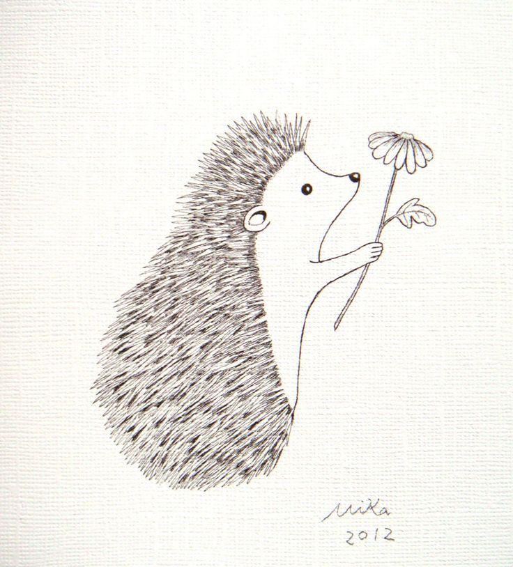 Print of Original Ink Drawing Love Illustration Hedgehog Flower Black & White. $9,99, via Etsy.