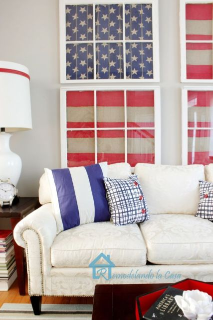Red, White and Blue Living Room - I adore this wall treatment of old windows!