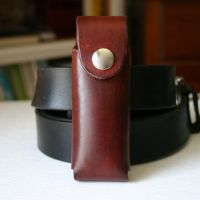 Brown Leather pocket knife holder for belt