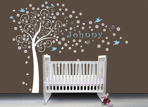 Nursery baby boy tree wall decal wall sticker, baby kids