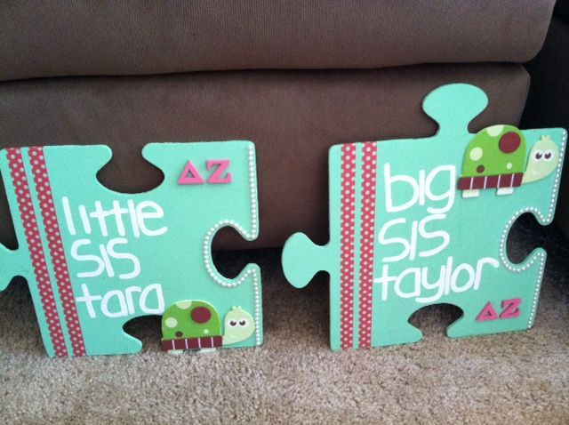 Puzzle pieces from Hobby Lobby, painted, the lines are just crafting tape, the letters i got from #somethinggreek and the pearls from Michael's #diy #greek #gifts #sorority #crafts