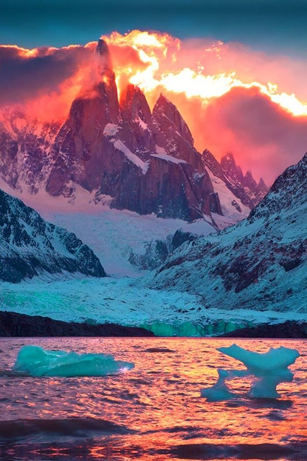 Red Sun Raise Over Cerro Torre Mountain, Patagonia Argentina