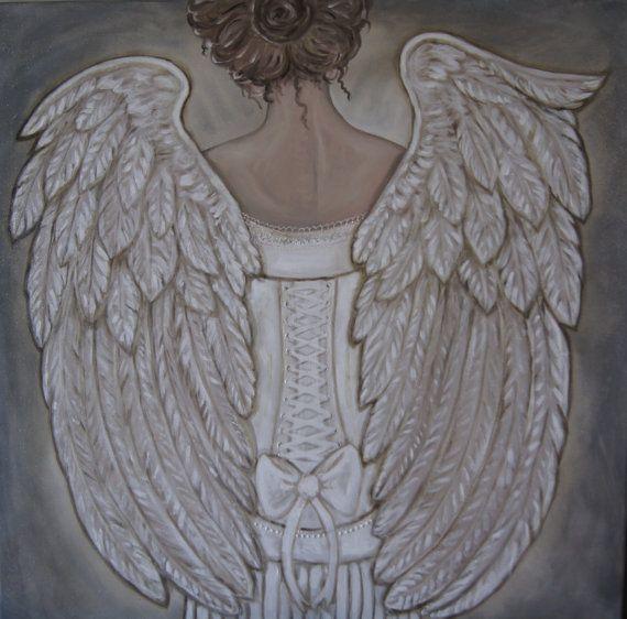 Her Morning Elegance  Angel Painting Large 30 x 30 #angel #wings #art $1200.00