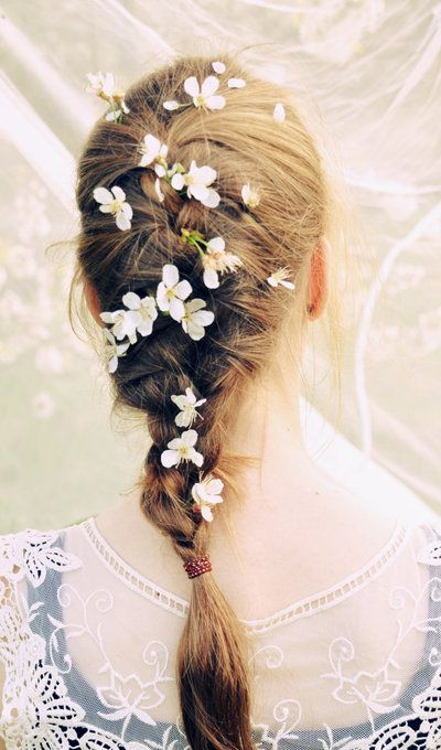French braid with flowers