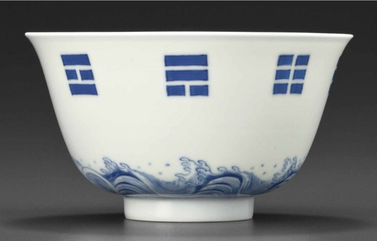 A blue and white 'bagua' bowl, Kangxi six-character mark in underglaze blue within a double circle and of the period (1662-1722)