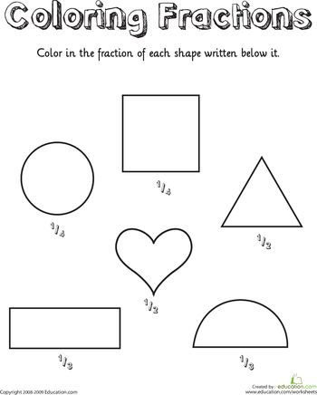 Worksheets: Coloring Shapes: Fractions