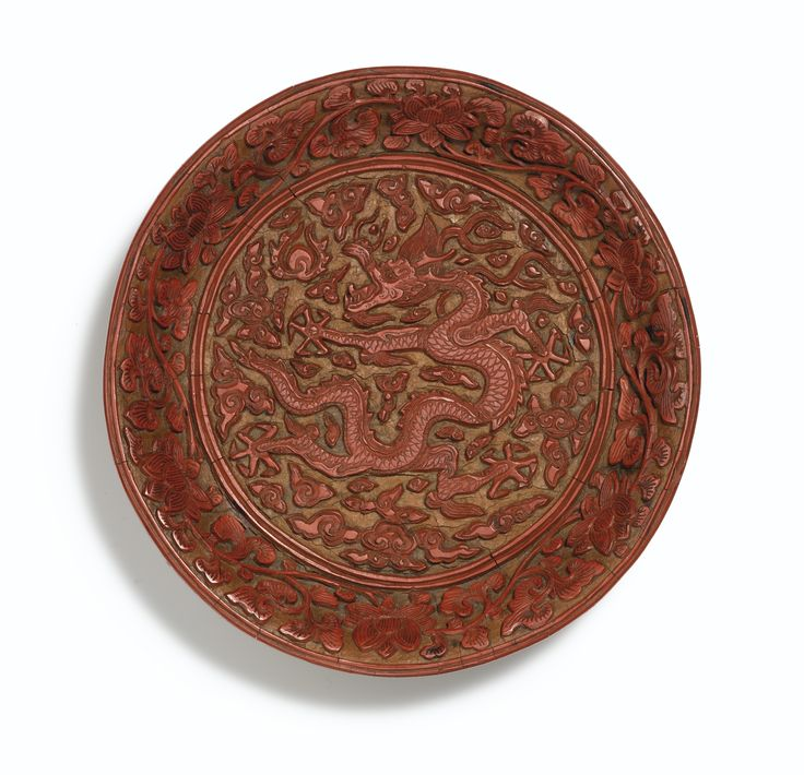 An extremely rare carved cinnabar lacquer 'Dragon' dish, Mark and period of Longqing