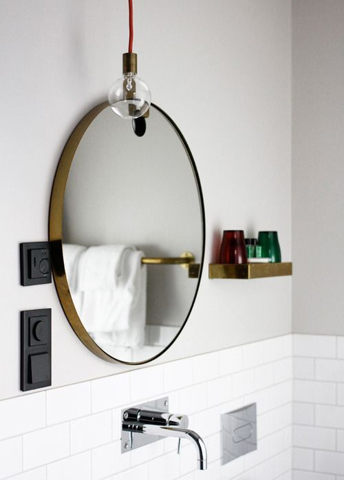 Bathroom  round mirror  Bathroom Inspiration  Pinterest