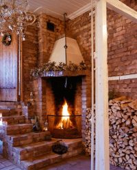 Brick wall, stairs, and corner fireplace | fireplaces ...