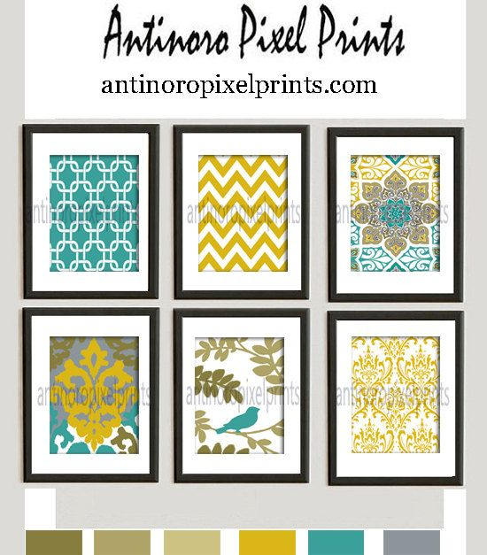 Digital Print Wall Art Mustard Yellow Teal Green Grey