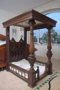 Antique victorian bespoke wood four poster dog bed