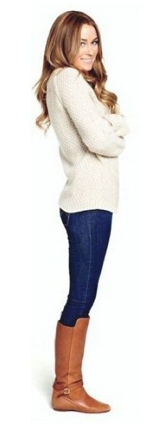 Lauren Conrad in white sweater, jeans and brown flat boots