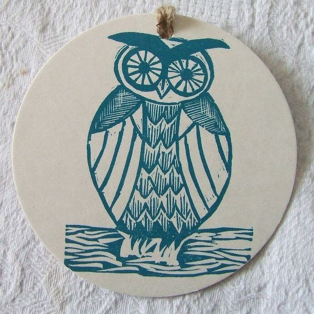 owl linocut gift tag by ruby victoria, via Flickr