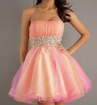 Short peach prom dress | Bling Forever | Pinterest