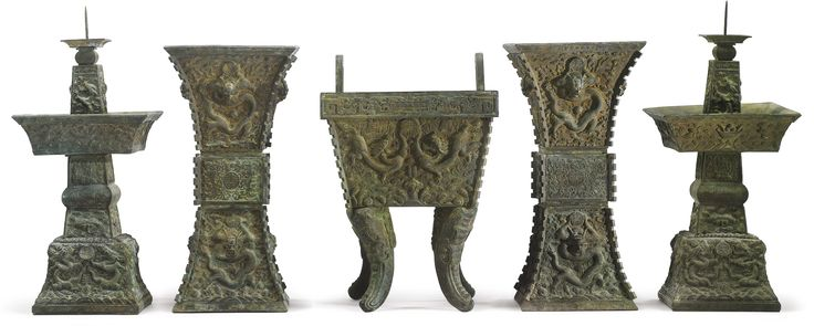 An Imperial bronze five-piece altar garniture, China, Qianlong mark and period | Lot | Sotheby's
