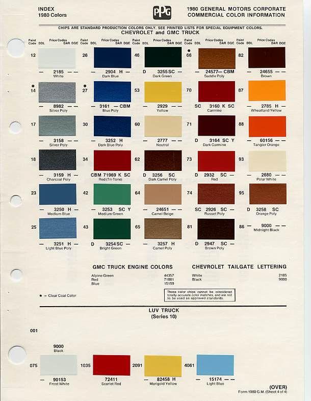 1972 Chevelle Paint Chart