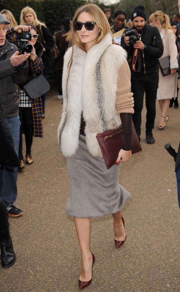 Nice shades! Olivia Palermo looks sleek outside of the Burberry show.