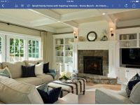 Built ins, stone fireplace | Living Room Ideas | Pinterest