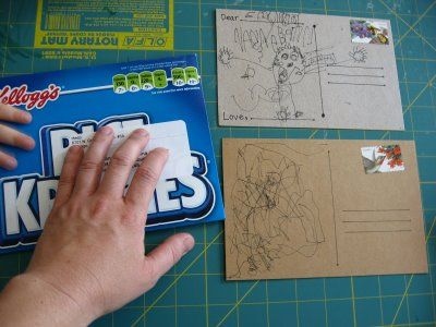 would be cute to make postcards from girl scout cookie boxes.  Or cut the boxes up for thank you tags next year.