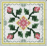 free cross stitch chart rose biscornu | needle work ...