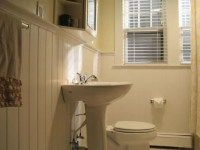 How to Cover Bathroom Tile with Wainscoting
