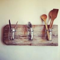 Mason Jar Wall Utensil holder   Craft things   Pinterest