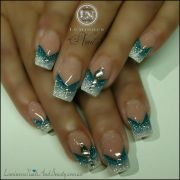 white&&teal nails