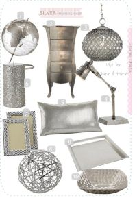 silver home decor accents | My new bedroom! | Pinterest