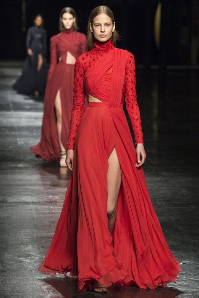 Prabal Gurung red wrap dress fall 2014 rtw