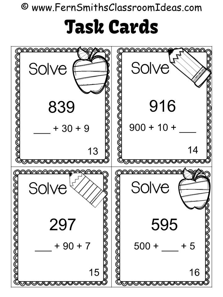 Break Apart Strategy for Place Value Task Cards and
