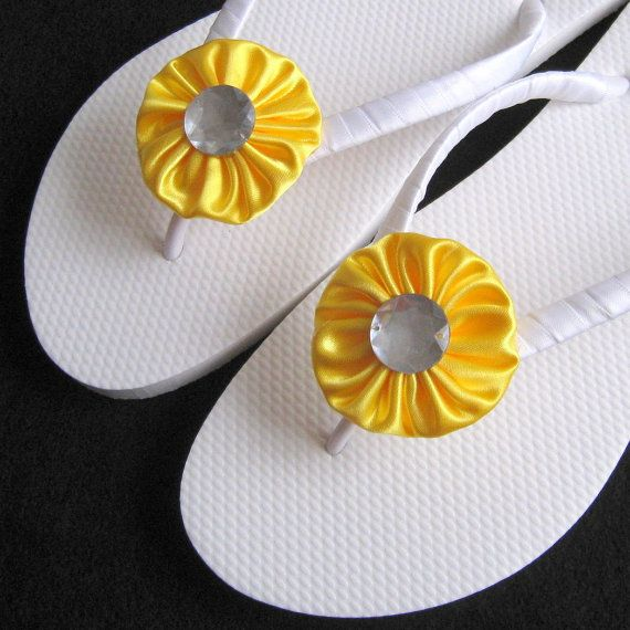 Lemon Yellow Bridal Flip Flops - Beach Wedding, Bridesmaid Favors, Wedding Decorated Flip Flops