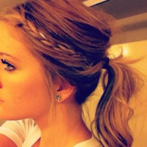 messy pony tail with a braid- love!