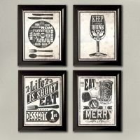 Kitchen Typography Wall Art Prints, 4 Set! Keep Calm