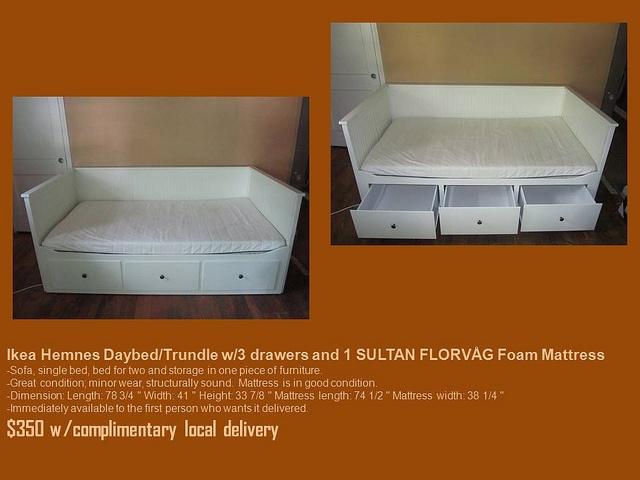 Ikea Patrull Klämma Verlängerung Hemnes Daybed Trundle W 3 Drawers And 1 Sultan FlorvÅg Foam
