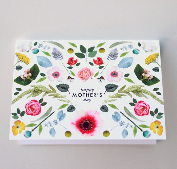 Mother's Day Scandinavian folk flowers card by HouseThatLarsBuilt, $4.75