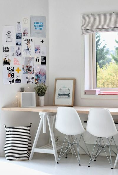Simple home office. I've seen this done with saw horses and a reclaimed door. Easy DIY and inexpensive.