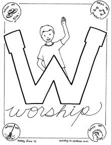 W is for Worship coloring page (Psalm 100:2)UK-Eduacation