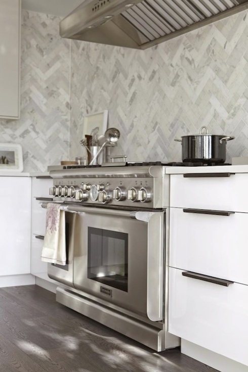 Nice herringbone marble backsplash