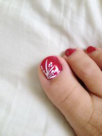Toe nail design art red freehand | nails (I'm turning into ...