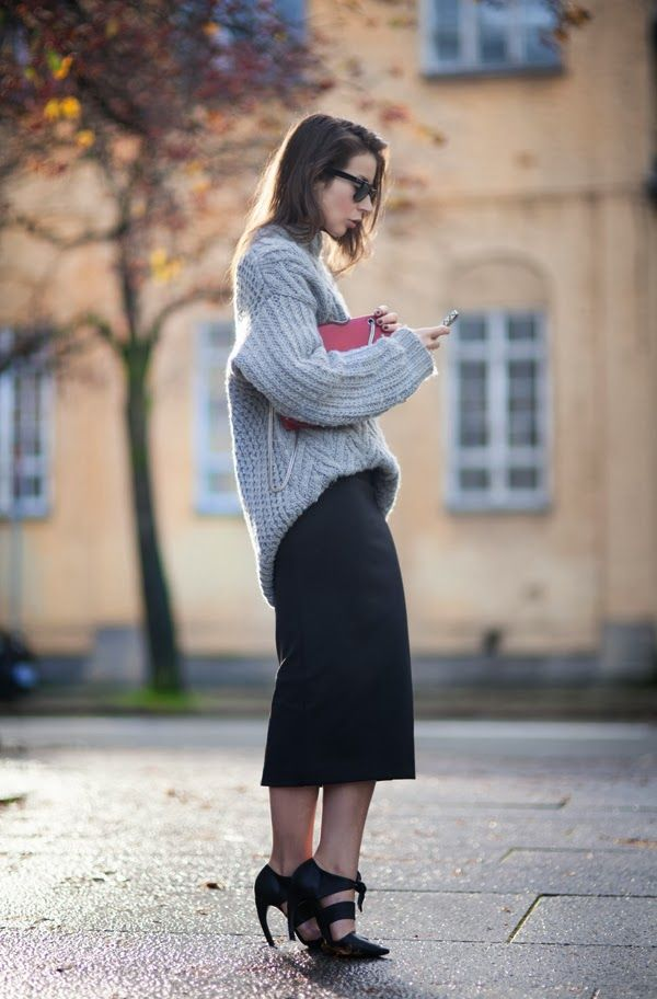 Grey, slouchy knit + black midi skirt