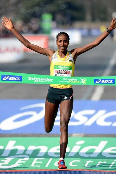 Oromo Athlete, Fayyisee Boru  Tadesse, winner of the 2013, International Paris Marathon, 37th Edition. World leading time and course record of  2:21:05. Oromia, East Africa.