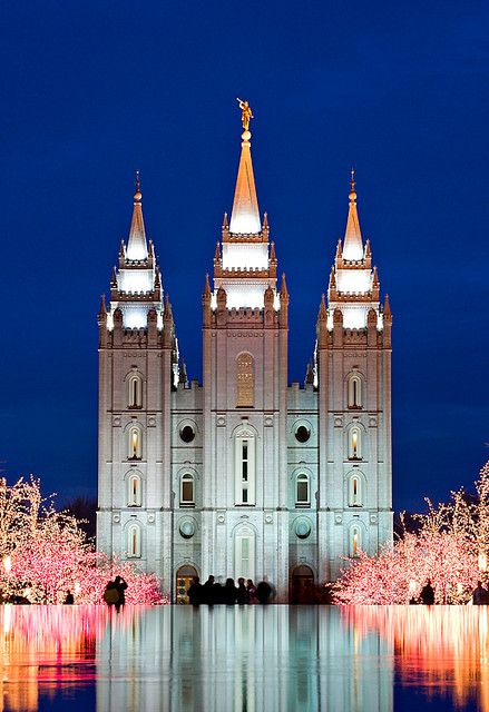 Temple Square lights in Salt Lake City, Utah. Been there and its beautifully breathtaking.
