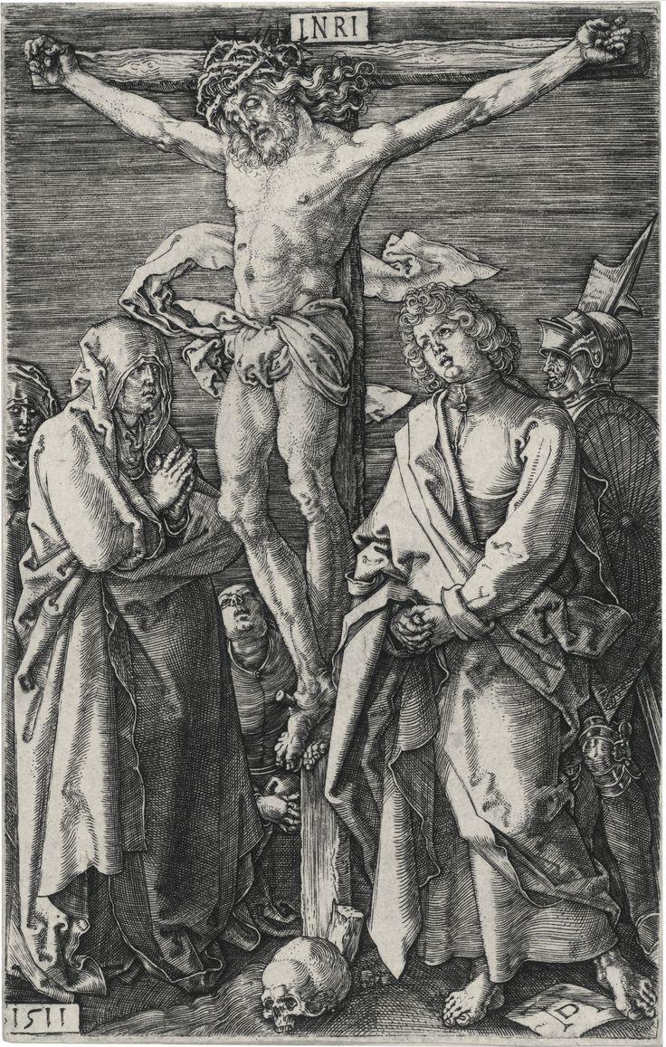 Albrecht Dürer (1471 – 1528, Christ on the cross; and peasant couple at market(B., M., Holl. 13; 89)