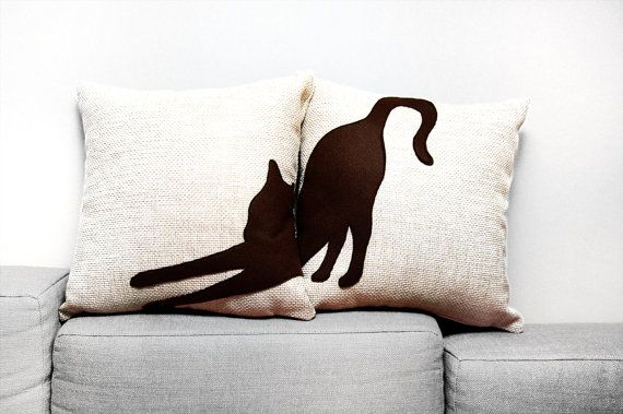Stretching cat cushion covers -  beige and dark brown - decorative pillow - sofa pillow