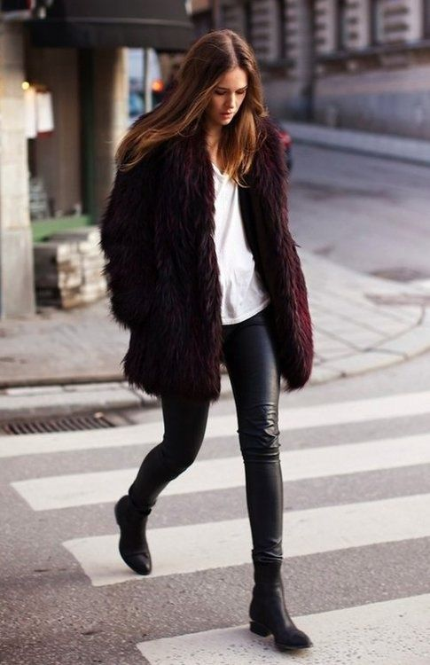 Leather pants, fur coat, white t-shirt, boots